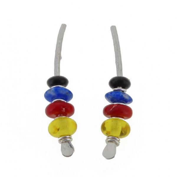 Multi coloured, sterling silver medium arc shape